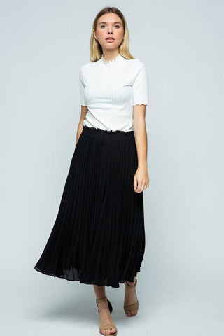 Shandy Pleated Crop Pants - Black