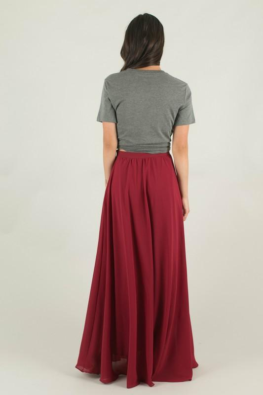 Julianna Burgundy Maxi Skirt