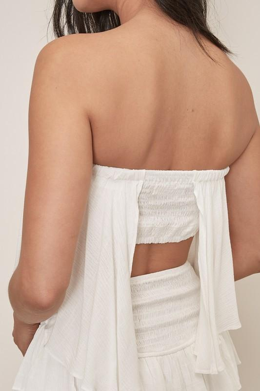 Misha Strapless Ruffle Romper - White ORDER NOW / ARRIVING 08/07/2020