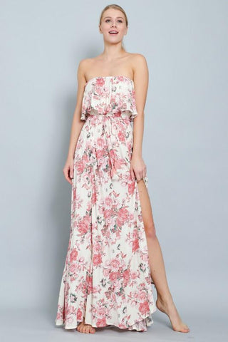 Rose Strapless Floral Maxi Dress