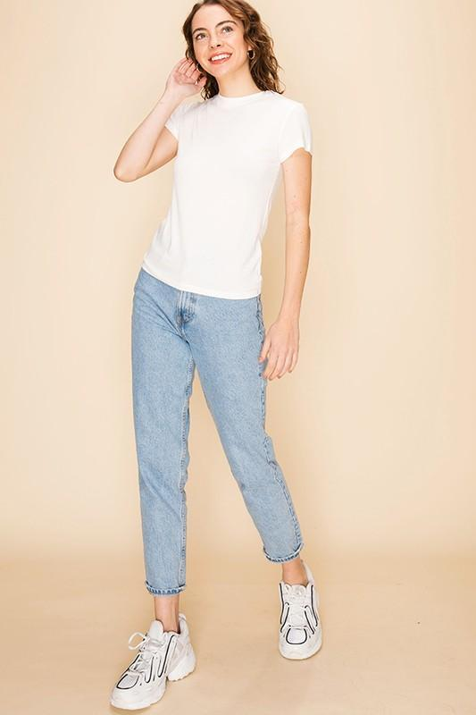 Sara Round Neck Cotton Tee - White