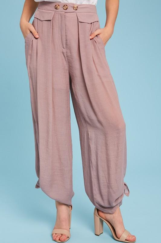 Kate Side Slit Palazzo Pants - Mauve