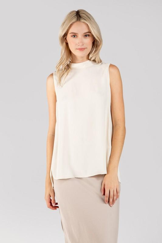 Mary Mock Neck Top - Cream