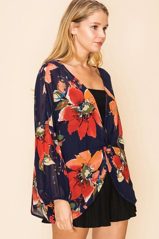 Evelyn Floral Sheer Top - Navy