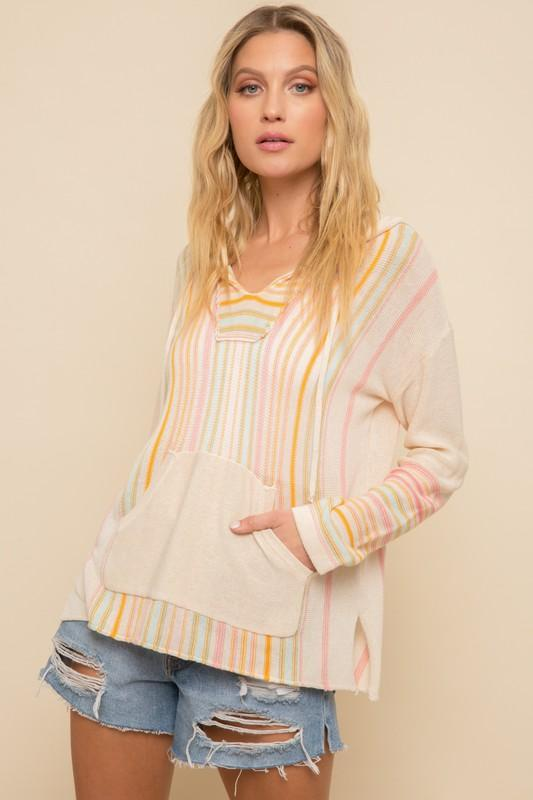 Esme Knit Multi-Color Striped Hooded Top / Coverup