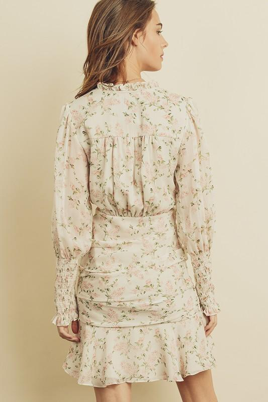 Sylvie Floral Surplice Ruched Dress