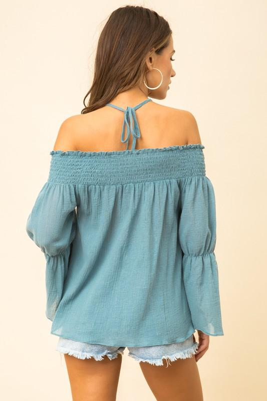 Kailani Off the Shoulder Top with Halter Accent - Vintage Teal