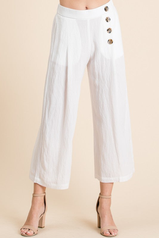 Martha Button Down Linen Cropped Pants