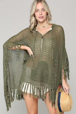 Fifi Hooded Knit Crochet Poncho - Olive