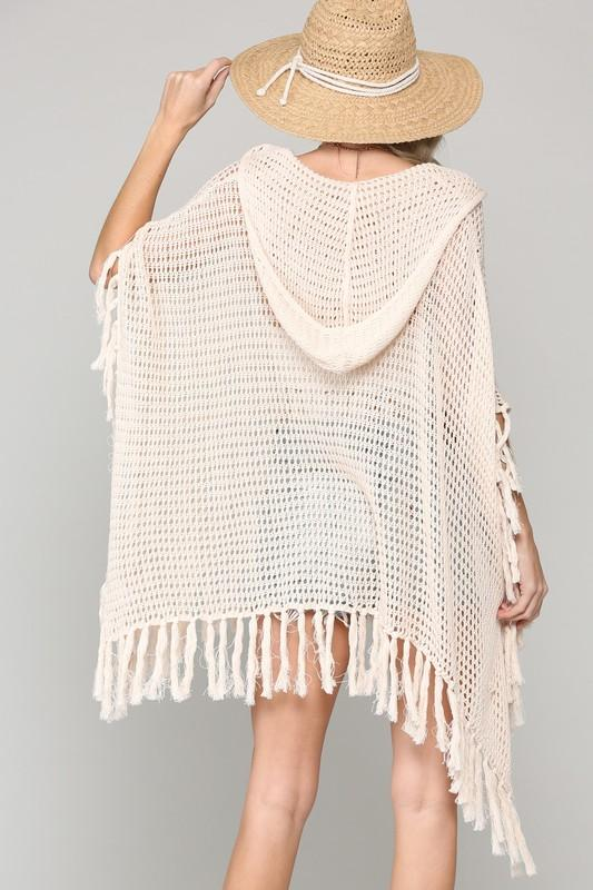 Fifi Hooded Knit Crochet Poncho