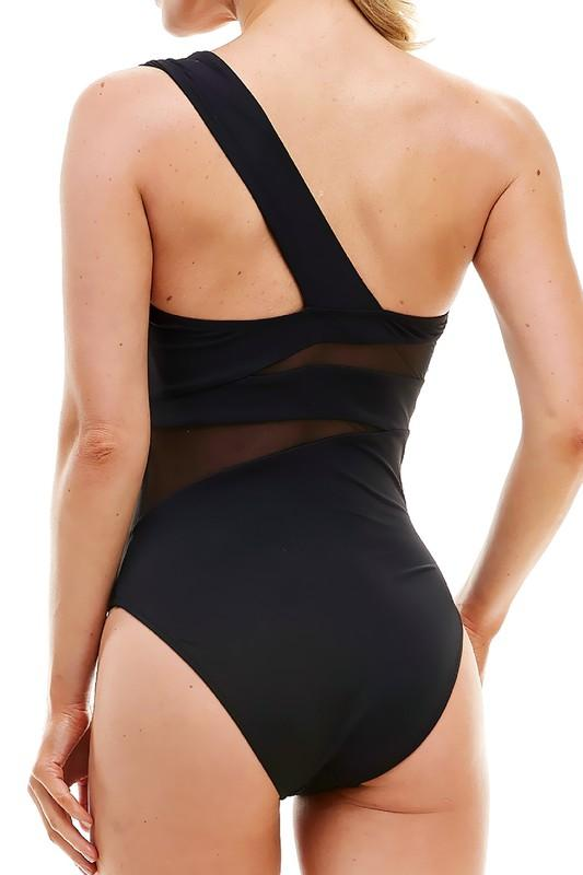 Scarlet Mesh One Piece Swimsuit- Black