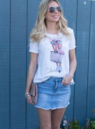 Bessie Bag Print T-Shirt with Pearl Embellishment