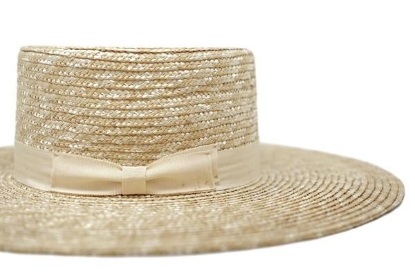 Zoey Straw Large Brim Boater Hat