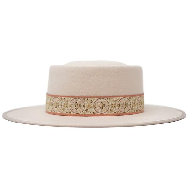 Dara Wool Felt Vintage Band Gambler Hat - Blush