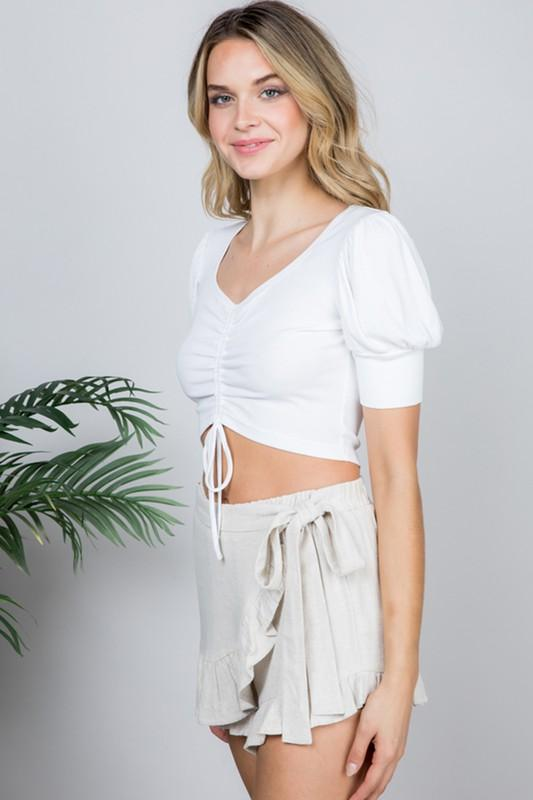 Sivan Drawstring Crop Top with Puffy Sleeves