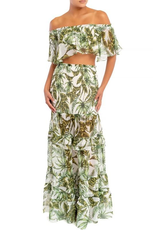 Ellison Palm Leaves Off Shoulder Top and Skirt Set