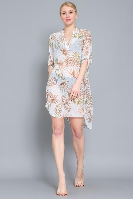 Reese Tropical Print Shirt Dress Cover-Up
