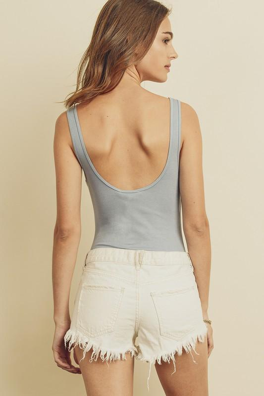 Margaret Ribbed Bodysuit - Steel Blue