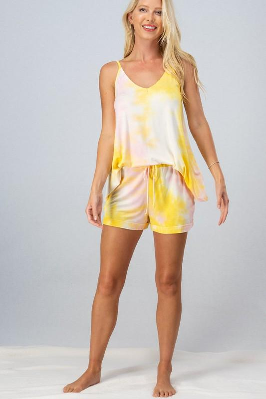 Arianna Tie Dye Cami Top & Shorts Set - Yellow/Pink