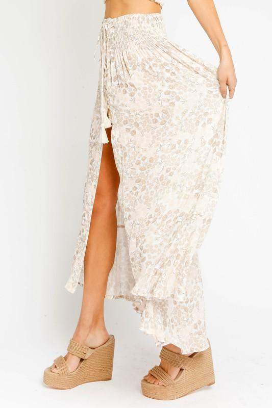 Monica High Low Skirt (CAN BE WORN AS A TOP AS WELL) - Cream Floral
