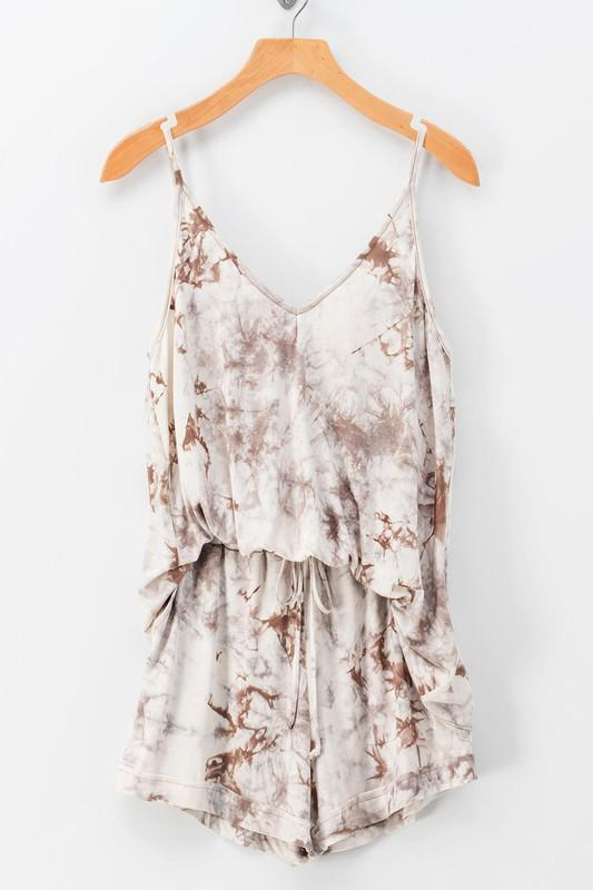 Arianna Tie Dye Cami Top & Shorts Set - Ivory/Taupe