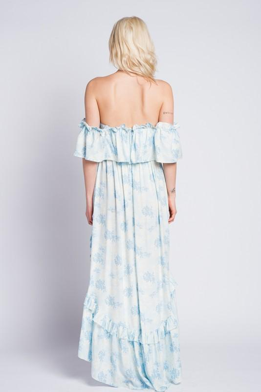 Rumi High Low Floral Off the Shoulder Dress