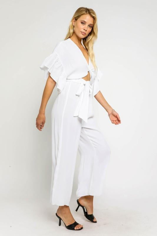 Beatriz Waist Tie Jumpsuit with Ruffle Sleeves - White