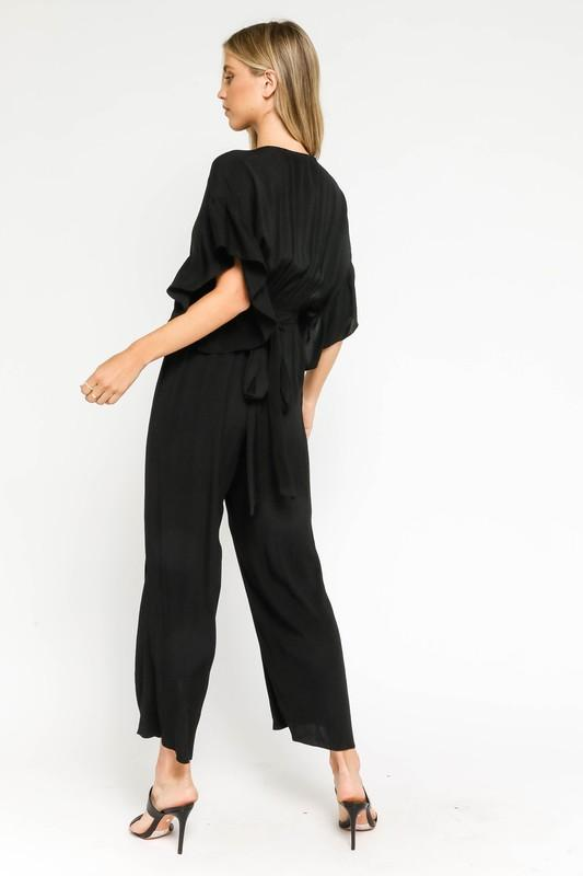 Beatriz Waist Tie Jumpsuit with Ruffle Sleeves - Black