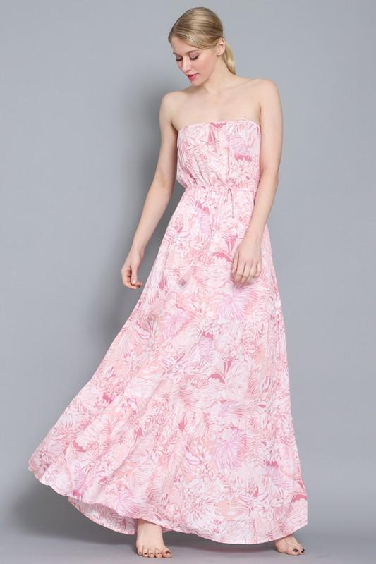 Ilany Strapless Maxi Dress with Waist Tie