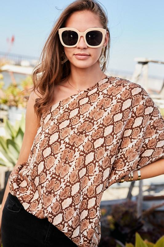 Alyse One Shoulder Snake Top
