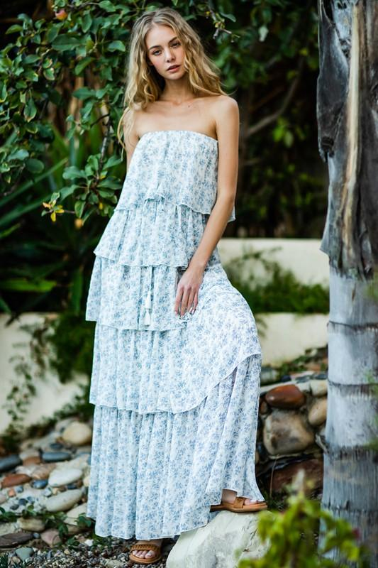 Alexis Strapless Tiered Maxi Dress
