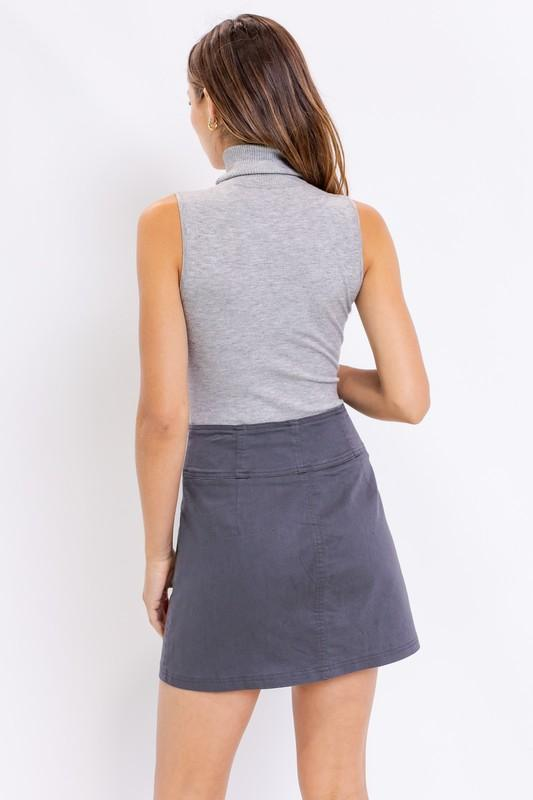 Corinna Sleeveless Turtleneck Bodysuit - Grey