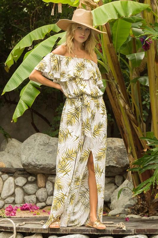 Rumi Printed Off the Shoulder Top and Wide Leg Pant Set