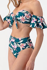 Ellis Floral Ruffle Top & Matching High Waisted Bottom Bikini Set