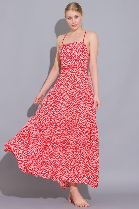 Rebecca Floral Strappy Back Maxi Dress