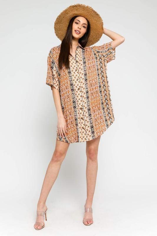 Darby Printed Button-Down Shirt Dress