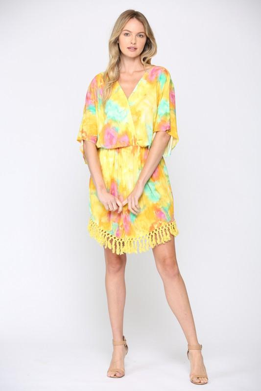 Arosa Tie Dye Front Twisted Dress