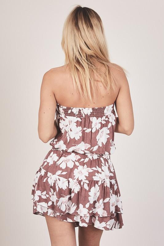 Estela Floral Strapless Dress