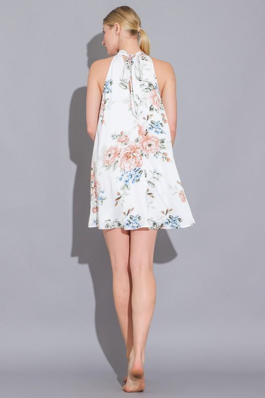Silvia Floral Print High Neck Mini Dress