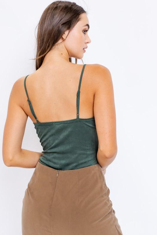 Lavina Suede Ribbed Bodysuit  - Hunter Green