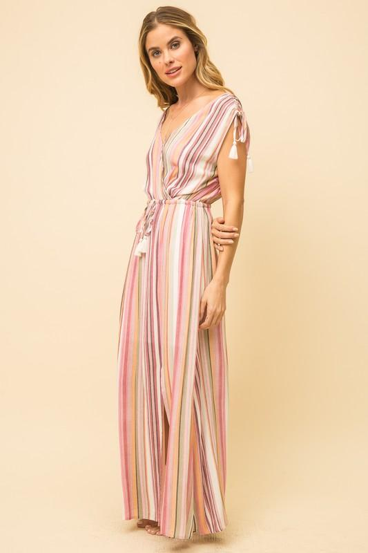 Ashlyn Multi-Color Striped Maxi Dress