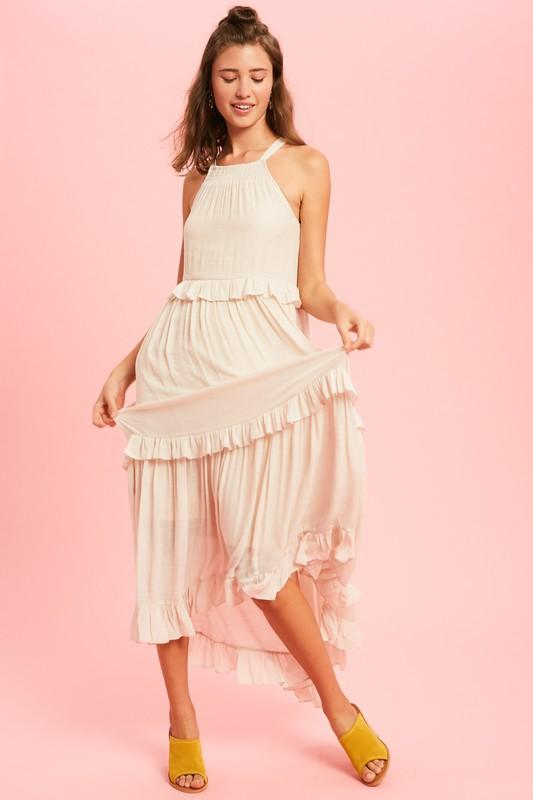 Jeanine Halter Ruffle Maxi Dress
