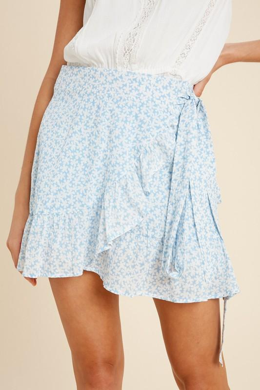 Mackenzie Floral Wrap Mini Skirt