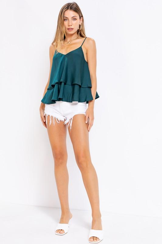 Patricia Double Layered Satin Top - Hunter Green