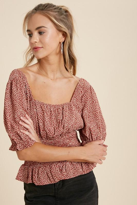 Missy Floral Smocked Top - Terracotta