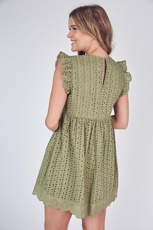 Skylar Eyelet Romper / Dress - Olive