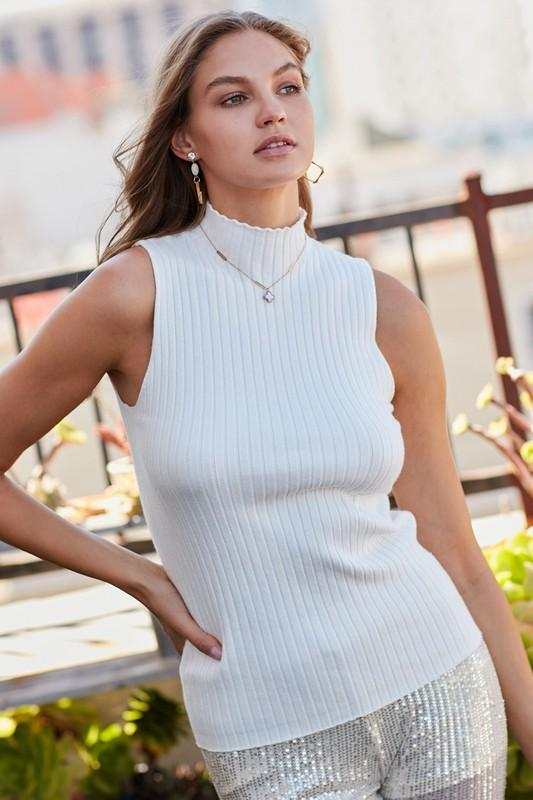 Gabrielle Mock Neck Ribbed Top - Off White