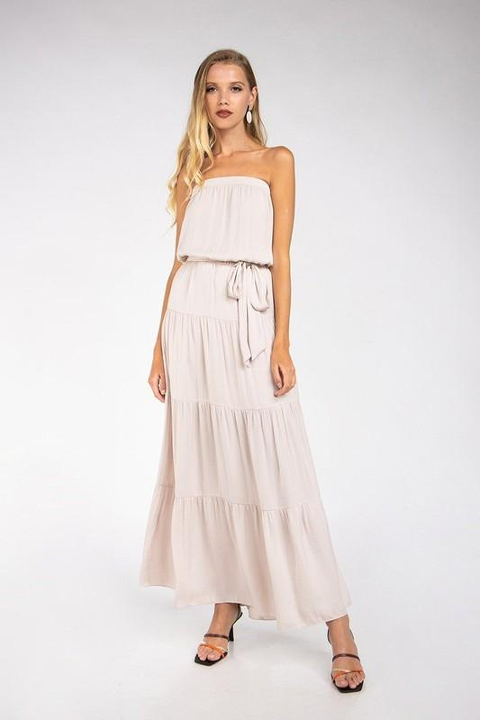 Alannah Tiered Strapless Maxi Dress - Oat