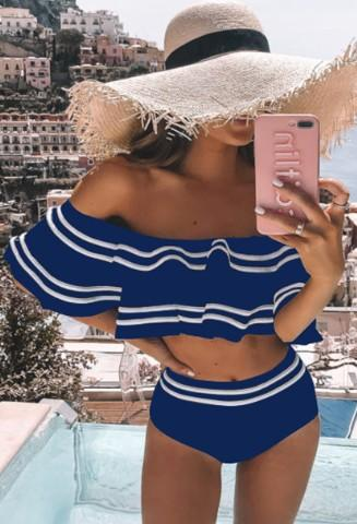 Callie Off Shoulder Bikini Set - Blue