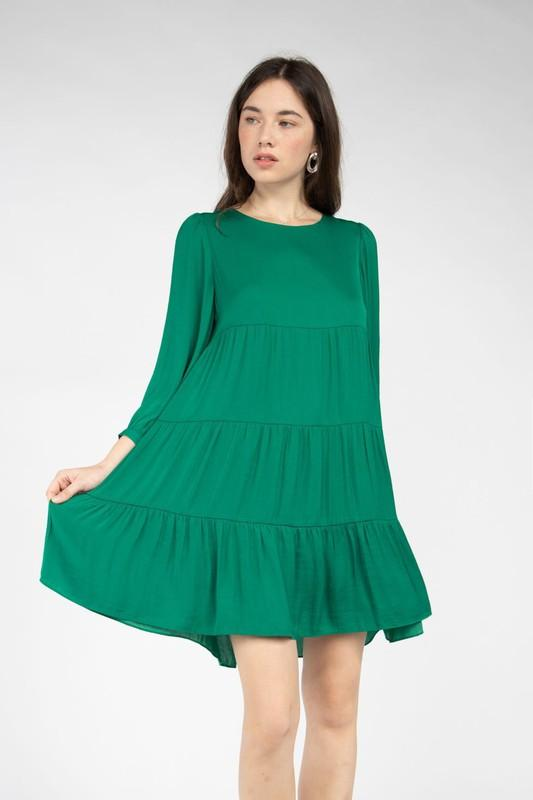 Lailah Tiered Mini Dress - Emerald Green